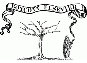 "A woodcut monk showing a ""Boycott Elsevier"" banner"